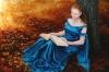 La Liseuse  ( oil & goldleaf 60 x 90cm)
